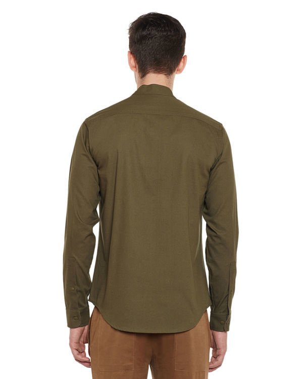 Olive cotton slim fit shirt 1