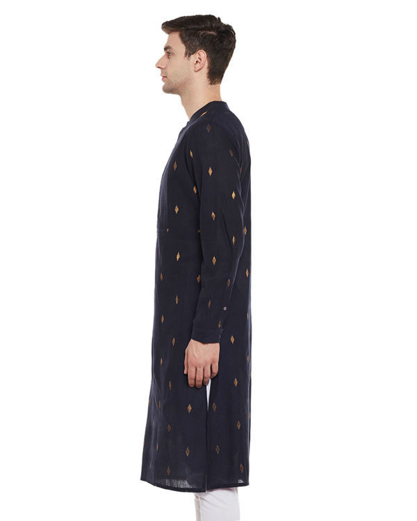 Navy zari booti cotton kurta 2