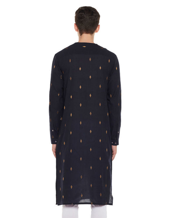 Navy zari booti cotton kurta 1