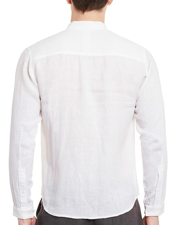 White linen safe pocket shirt 1