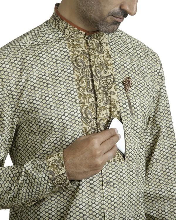 Beige khadi print safe pocket shirt 2