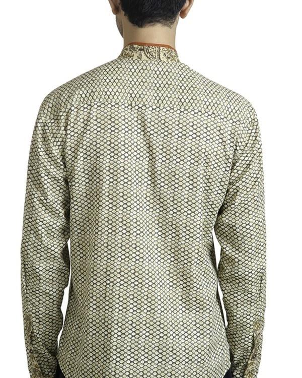 Beige khadi print safe pocket shirt 1