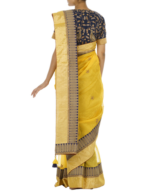 Yellow and blue chanderi saree 1