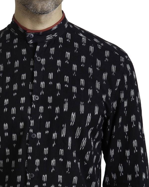 Black ikat slim fit shirt 2
