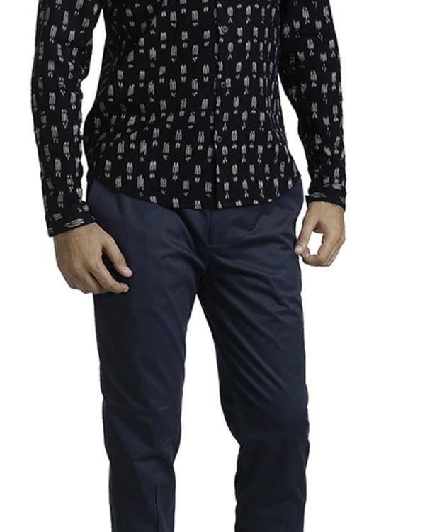 Black ikat slim fit shirt 1