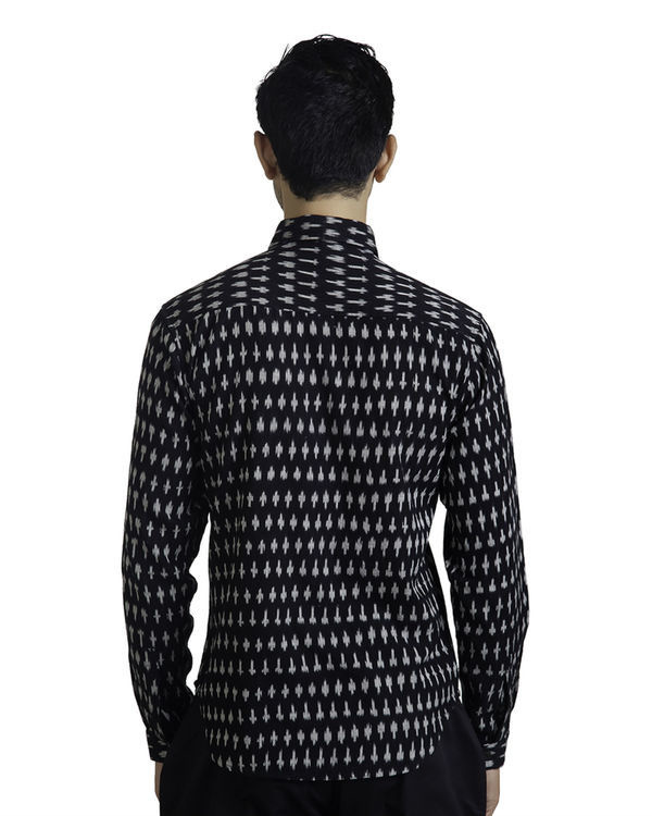Black ikat button-down shirt 1