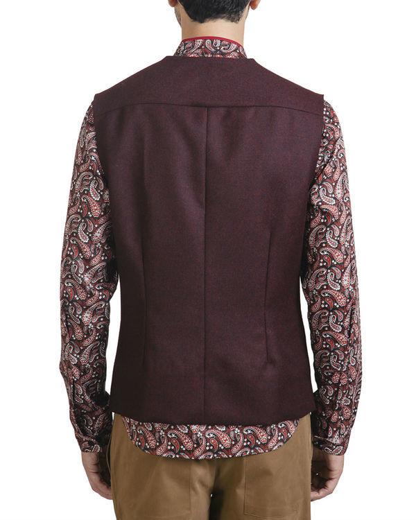 Maroon woollen asymmetric sleeveless jacket 3