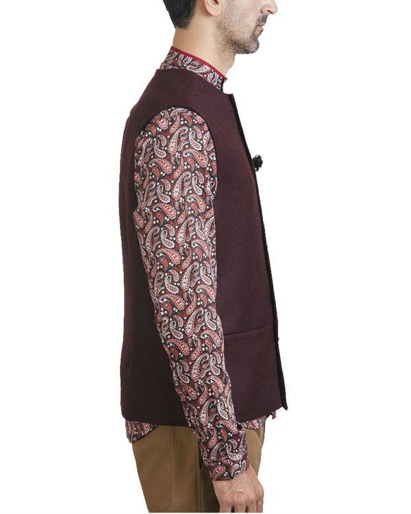 Maroon woollen asymmetric sleeveless jacket 2