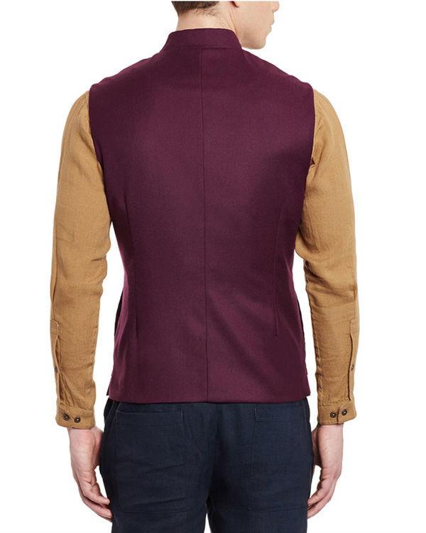 Wine woollen slim fit nehru jacket 2