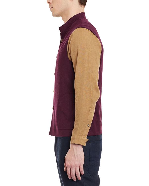 Wine woollen slim fit nehru jacket 1