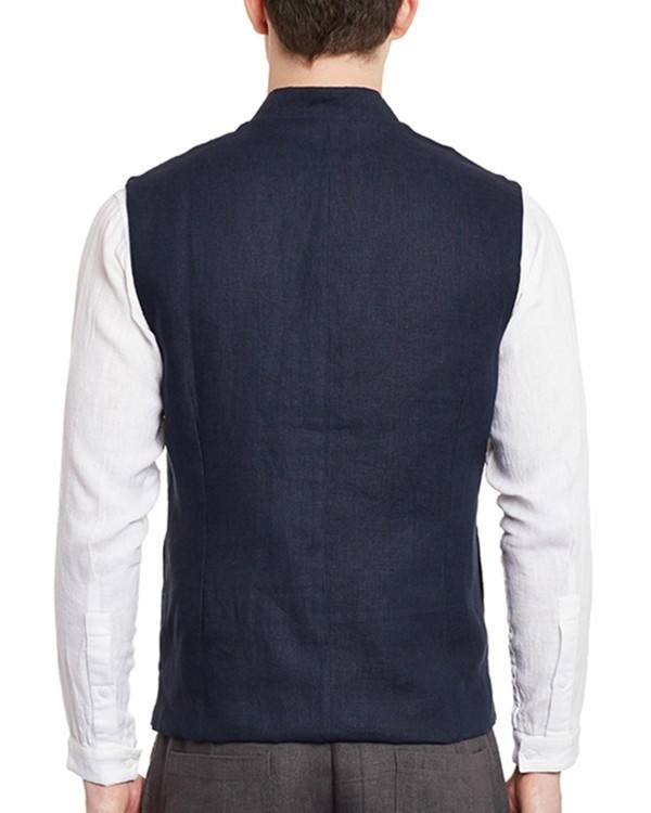 Navy blue linen slim fit nehru jacket 2