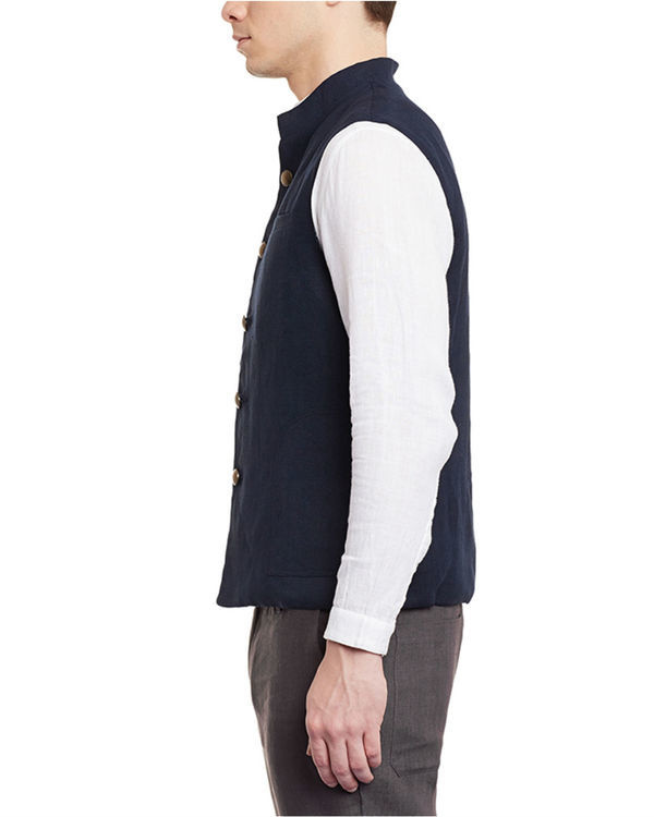 Navy blue linen slim fit nehru jacket 1