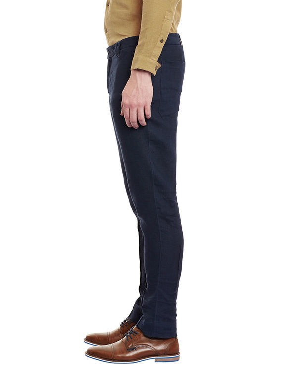 Navy blue linen trousers 2