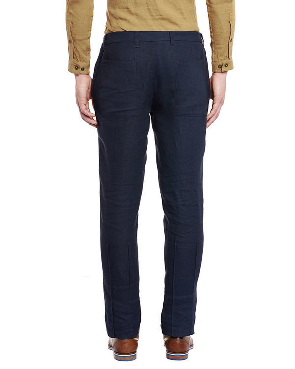 Navy blue linen trousers 1
