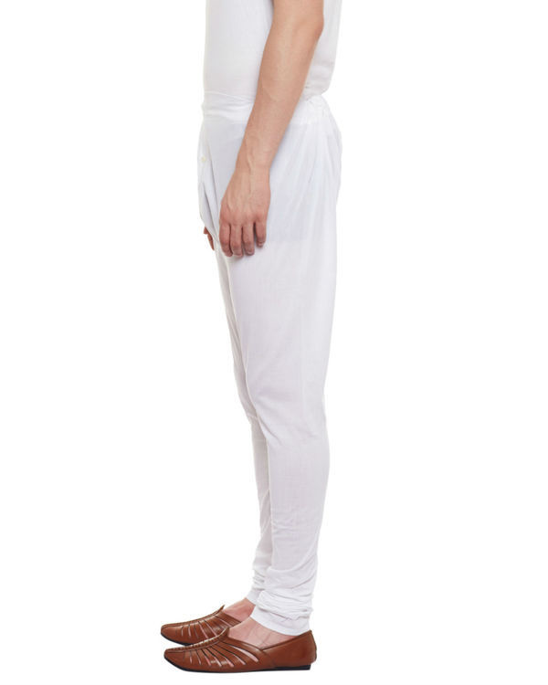 White button fly cotton churidar pajamas 2