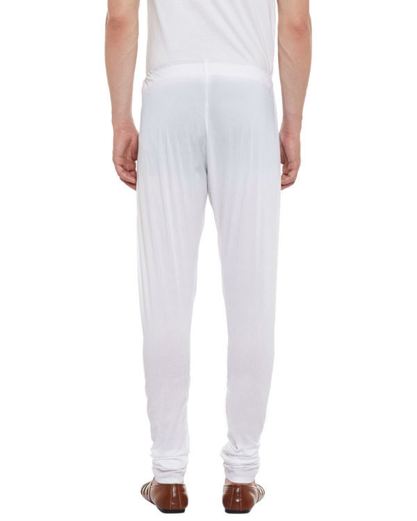 White button fly cotton churidar pajamas 1