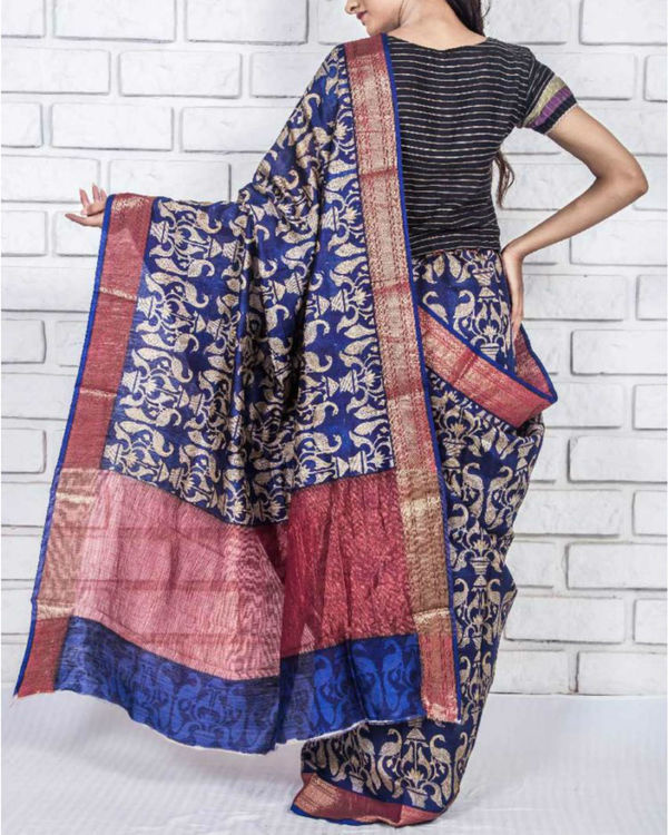 Zaffre drape sari 2