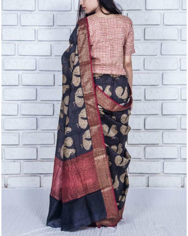 Black tint drape sari 2