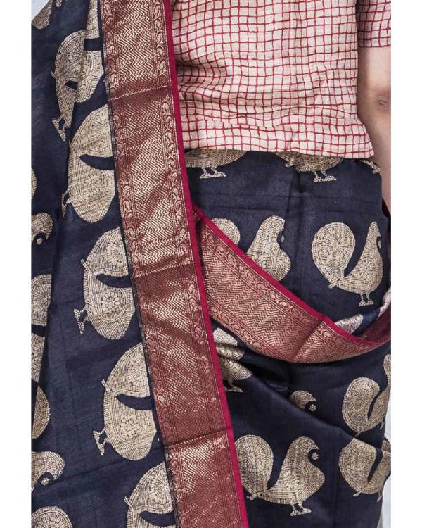 Black tint drape sari 1