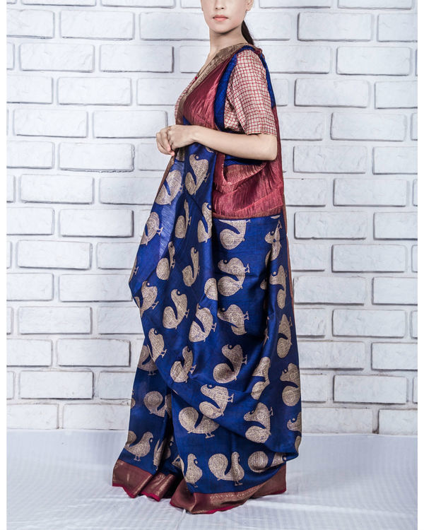 Persian blue drape sari 2
