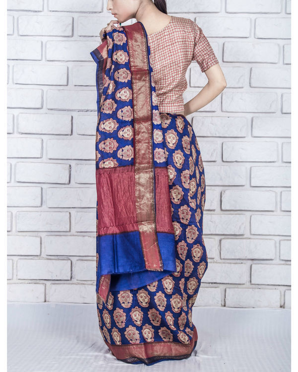 Royal blue drape sari 2