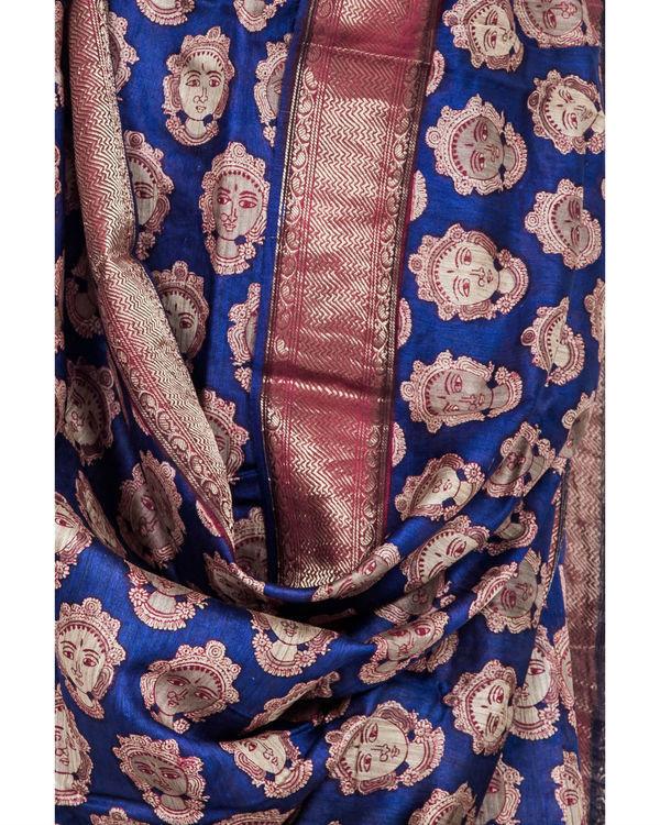 Royal blue drape sari 1
