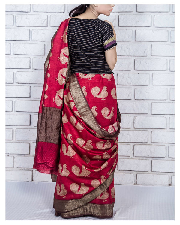 Fiery red drape sari 2