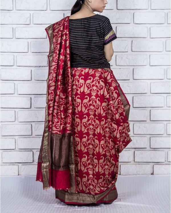 Royal red drape sari 2