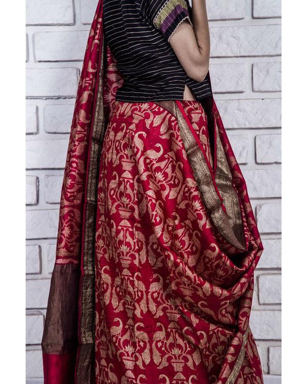 Royal red drape sari 1