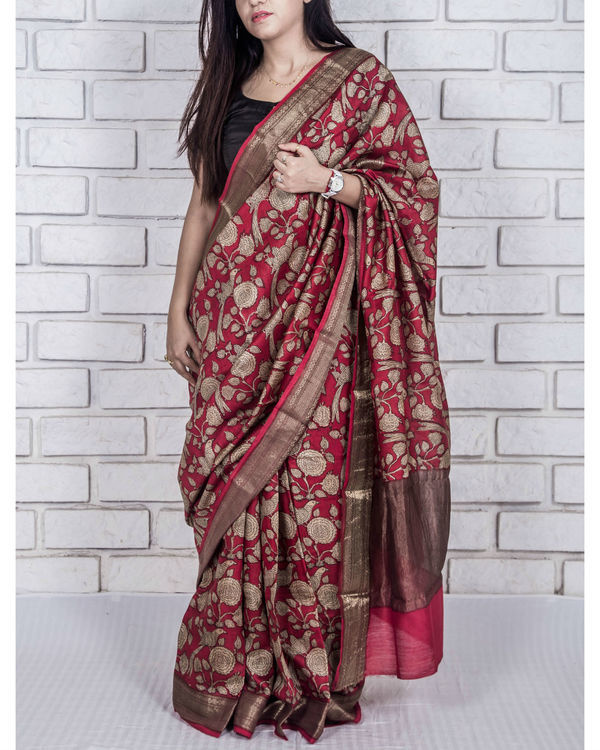 Carmine red drape sari 3