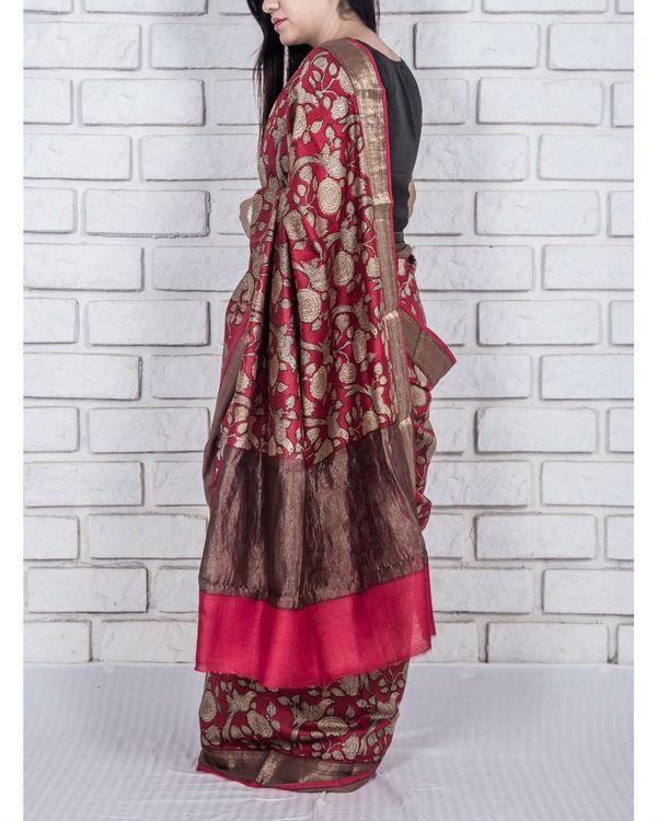 Carmine red drape sari 2