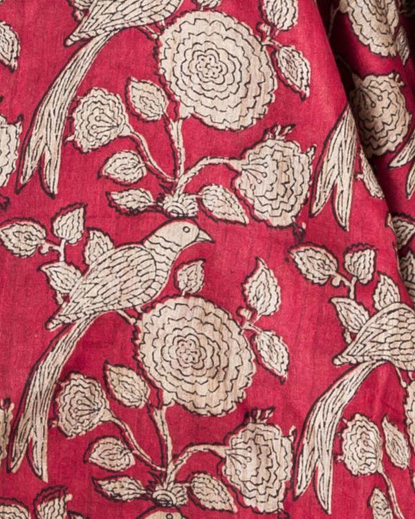 Carmine red drape sari 1