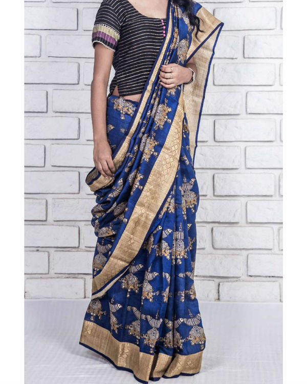 Royal blue and gold drape sari 3