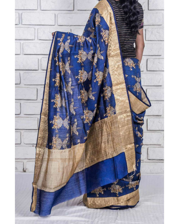Royal blue and gold drape sari 2