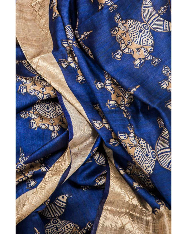 Royal blue and gold drape sari 1