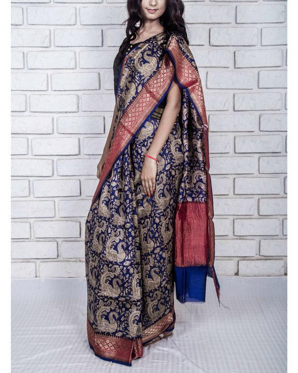 Navy blue munga drape sari 2