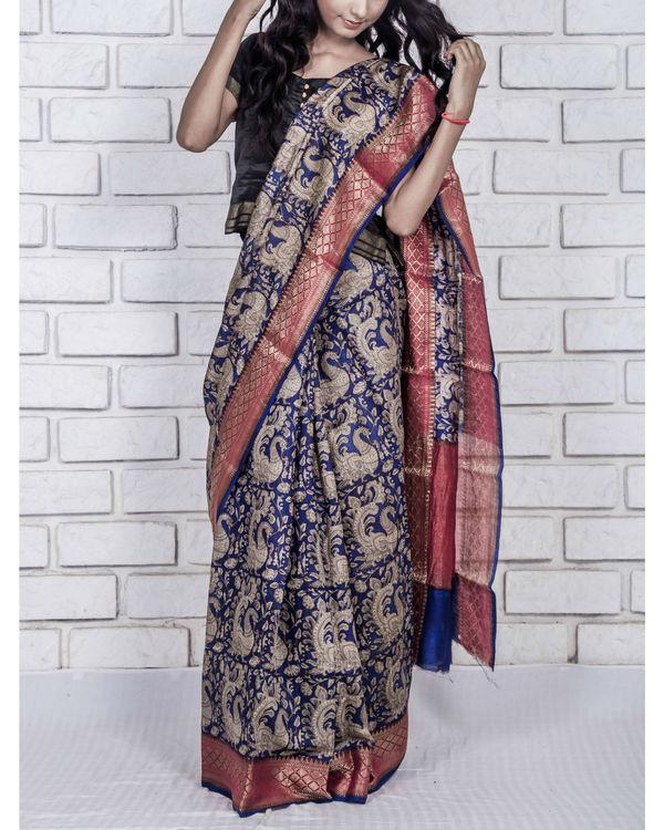 Navy blue munga drape sari 1