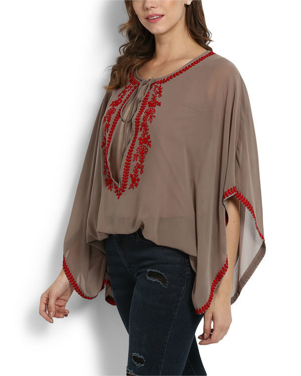 Kutch embroidered poncho top 2