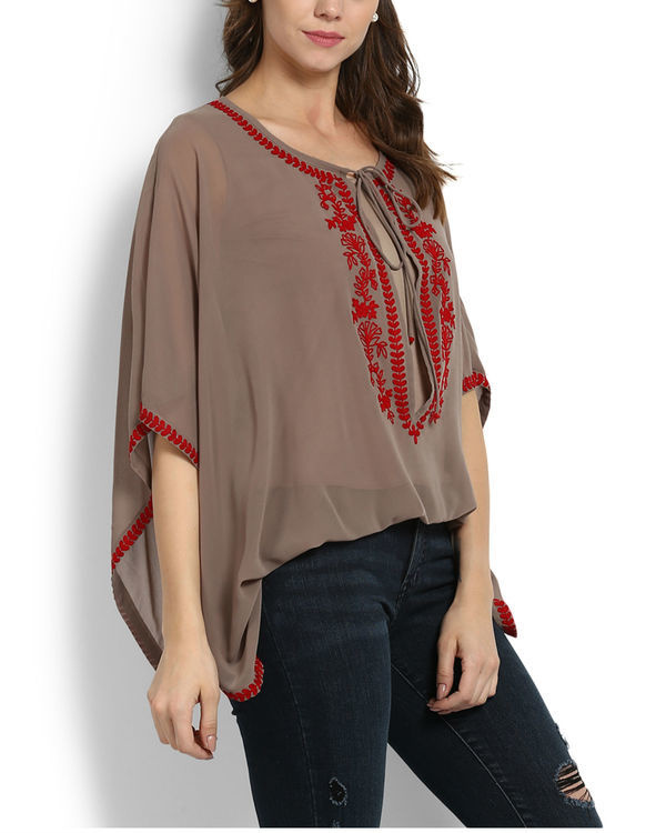 Kutch embroidered poncho top 1