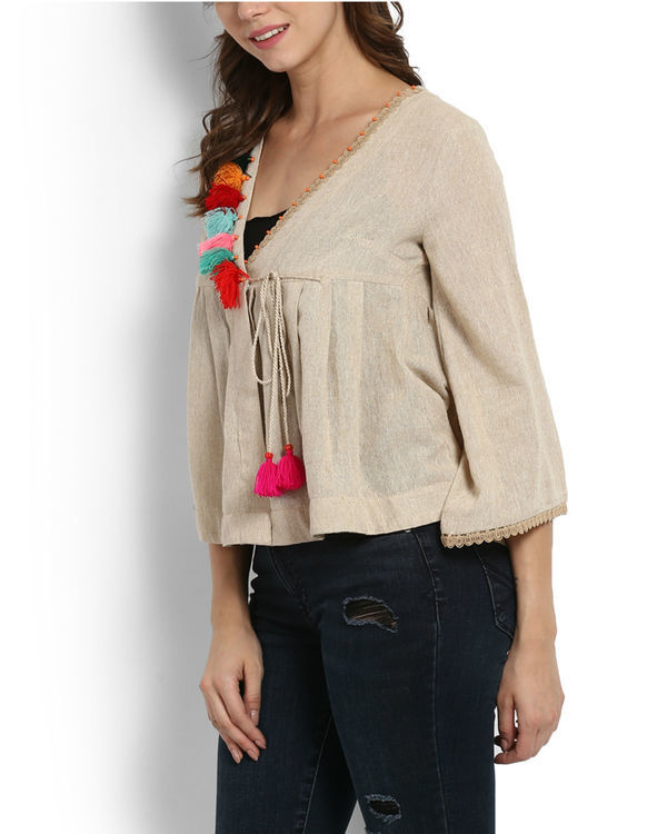 Dhanak wrap top with tassels 2