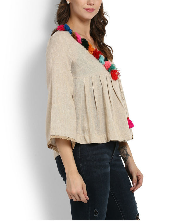 Dhanak wrap top with tassels 1