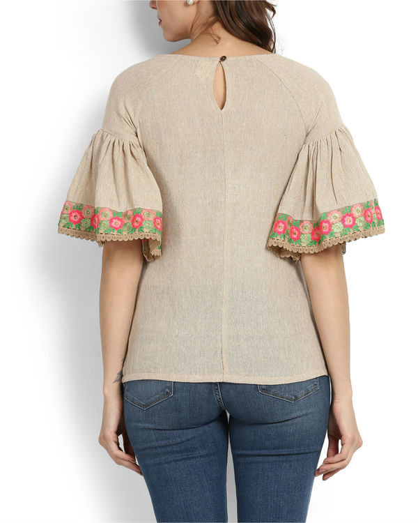 Dhanak ruffle sleeve embroidered top 3