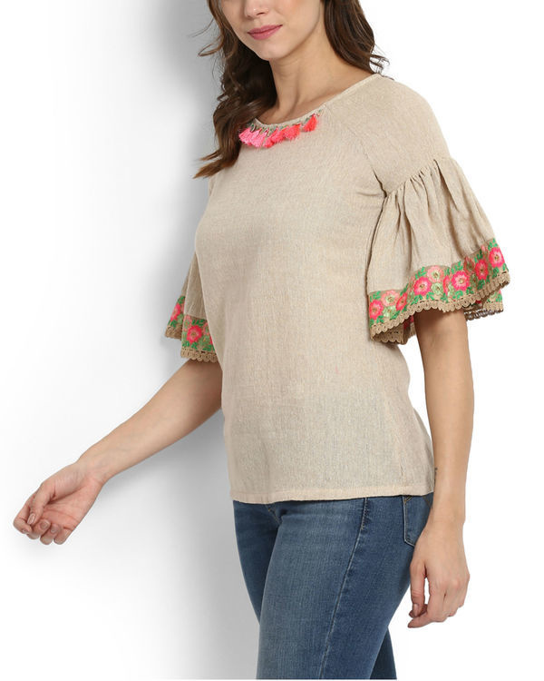 Dhanak ruffle sleeve embroidered top 2
