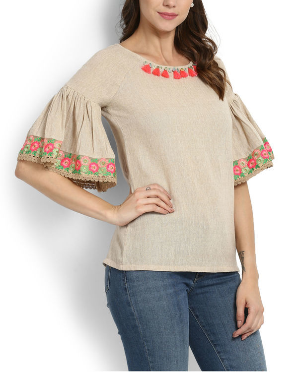 Dhanak ruffle sleeve embroidered top 1