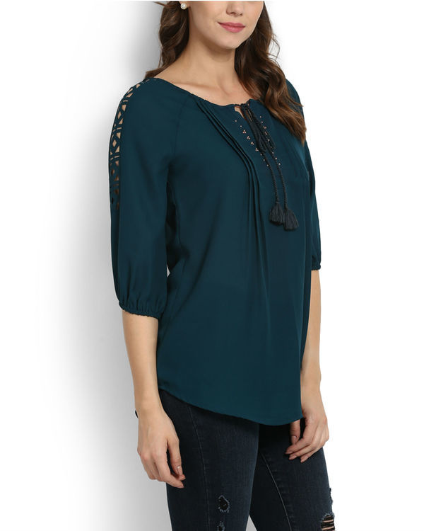 Teal studded top 1