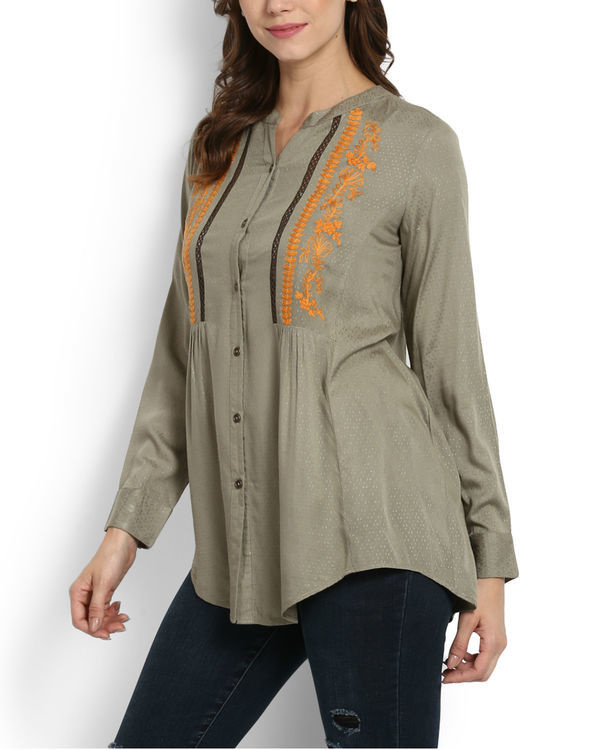Khaki top with embroidery & lace 2