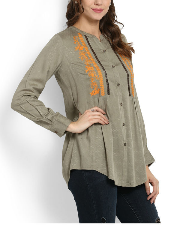 Khaki top with embroidery & lace 1