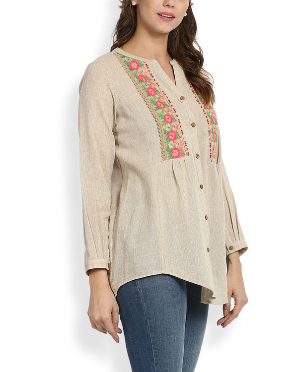 Beige embroidered top 1