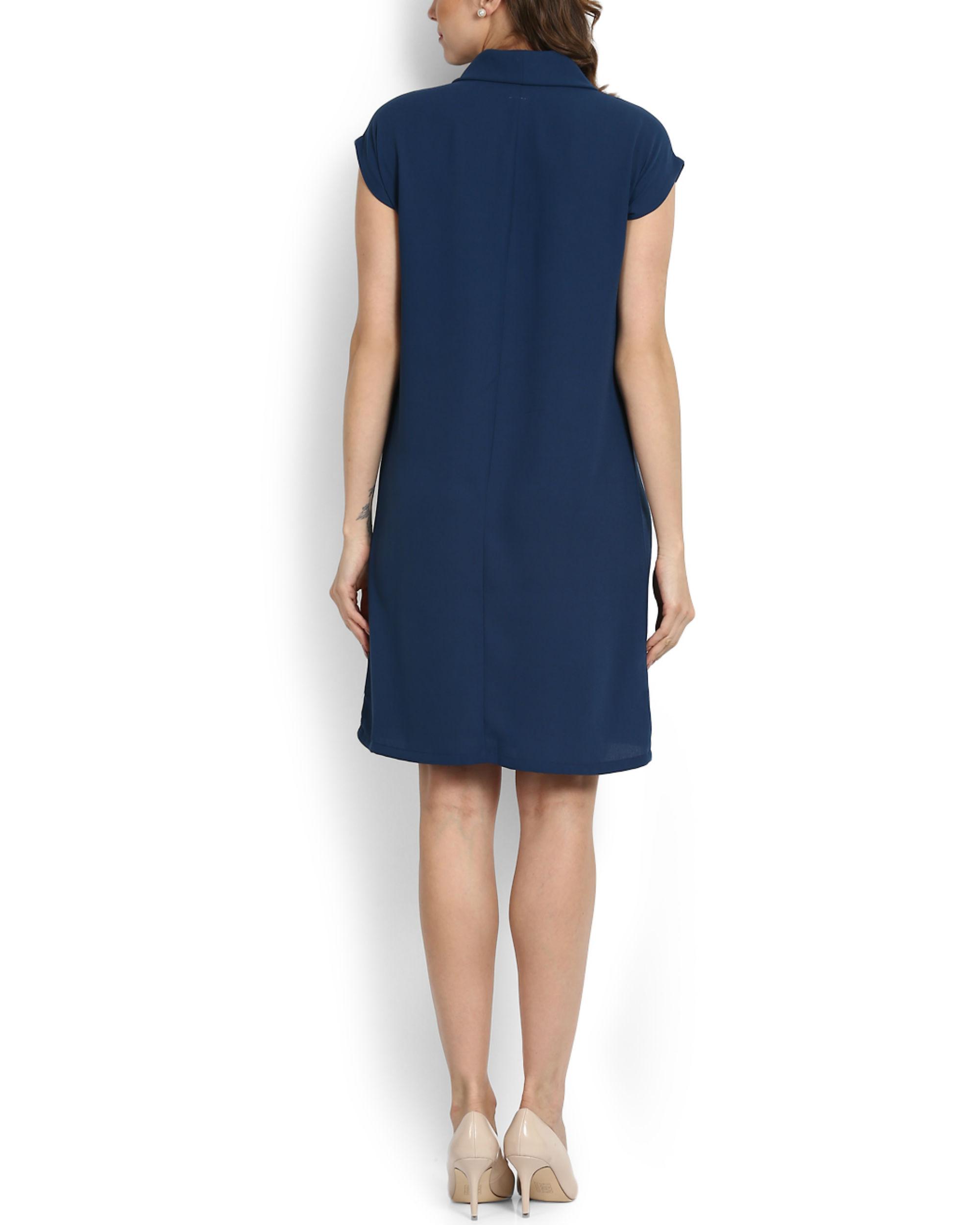 Cowl Neck Dress: Blue Cowl Neck Dress By RSVP