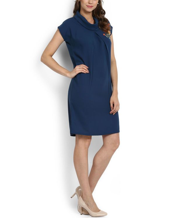 Blue cowl neck dress 1